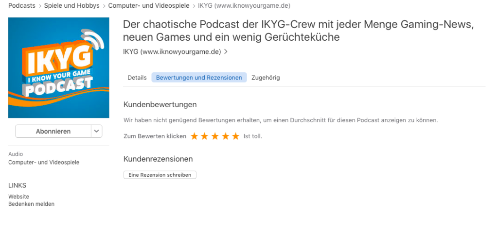 IKYG Podcast Bewertung